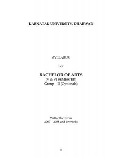 Bachelor Of Arts Karnatak University