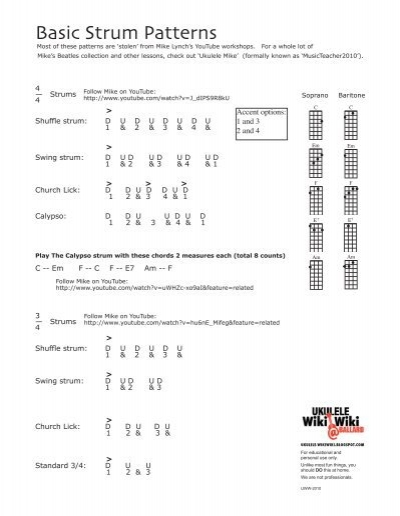 Basic Strum Patterns Ukulele Wikiwiki