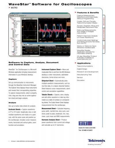 Wstro tektronix test software, wavestar software.