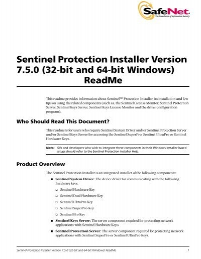 Sentinel Protection Installer Version 7 5 0     - Matrix