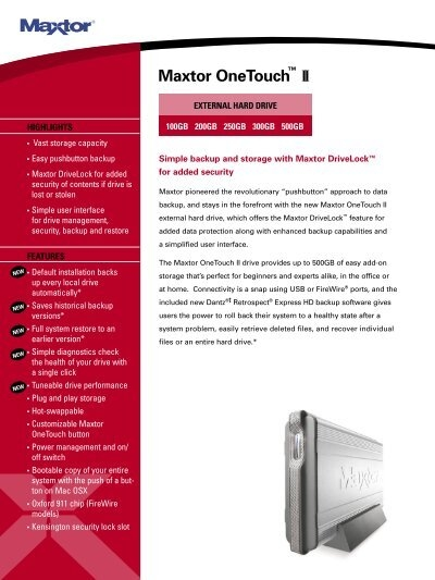 Maxtor OneTouch™ II - Seagate