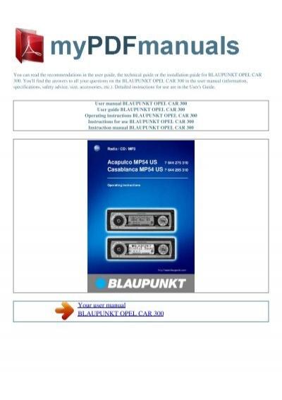 user manual blaupunkt opel car 300 my pdf manuals rh yumpu com Blaupunkt Car Audio Models Blaupunkt Car Audio System