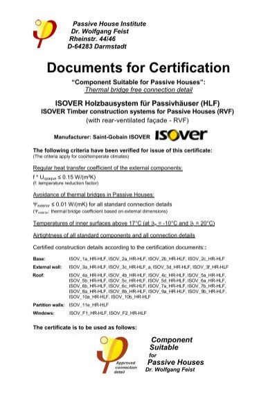 Documents for Certification - ISOVER Multi-Comfort House ...