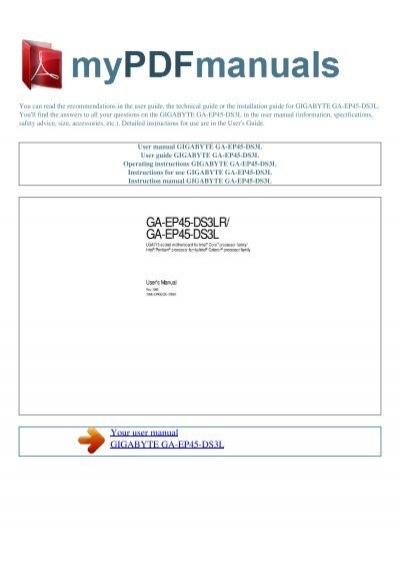 user manual gigabyte ga ep45 ds3l 1 my pdf manuals rh yumpu com User Manual Service Manuals