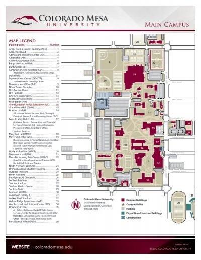 Wccc Campus Map.Main Campus Map Colorado Mesa University