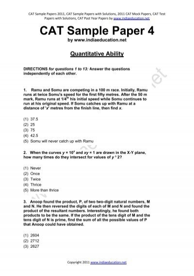 cat sample paper 4 indiaeducation net