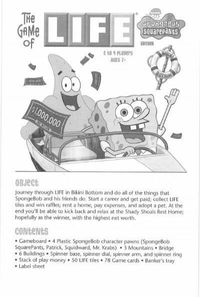 Life The Game Of Spongebob Squarepants Instructions Hasbro