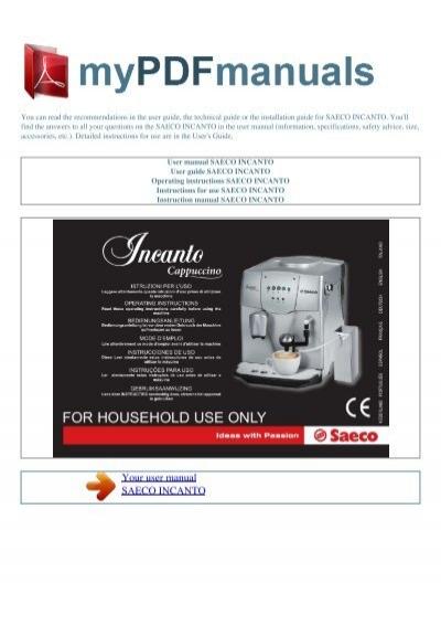 user manual saeco incanto my pdf manuals. Black Bedroom Furniture Sets. Home Design Ideas