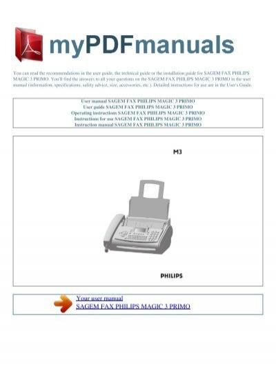 user manual sagem fax philips magic 3 primo my pdf rh yumpu com manuale philips magic 3 primo philips magic 3 primo fax machine manual