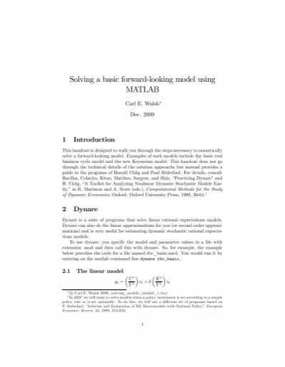 Solving a basic forward-looking model using MATLAB