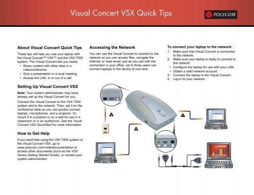 Visual Concert VSX Quick Tips - Polycom Support