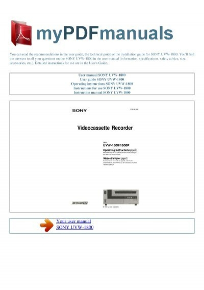 Sony i manual array user manual sony uvw 1800 my pdf manuals rh yumpu fandeluxe Choice Image