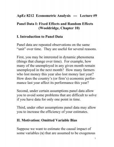 Apec 8212 Econometric Analysis Lecture 9 Panel Data I Fixed