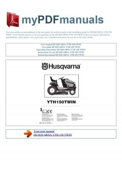 user manual husqvarna yth 150 twin my pdf manuals rh yumpu com