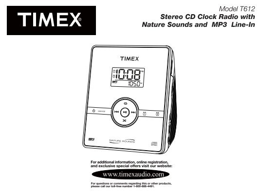 model t612 stereo cd clock radio with nature timex audio rh yumpu com timex t621 manual Timex WR100M Manual