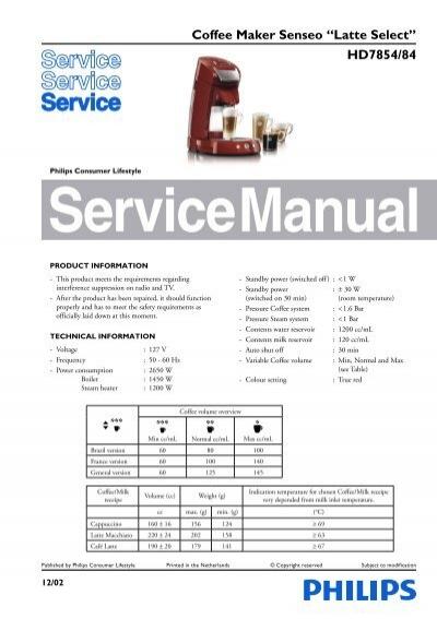Senseo Coffee Maker Service Manual : Coffee Maker Senseo ?Latte Select? HD7854/84