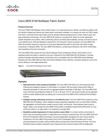 Cisco MDS 9148 Multilayer Fabric Switch - Datasheet