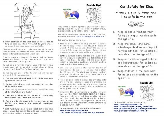 Printable Car Safety For Kids Brochure Rear Facing Down