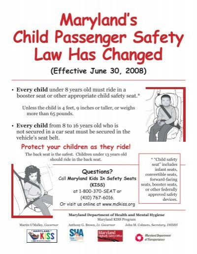 Marylands Child Passenger Safety Law Has Changed