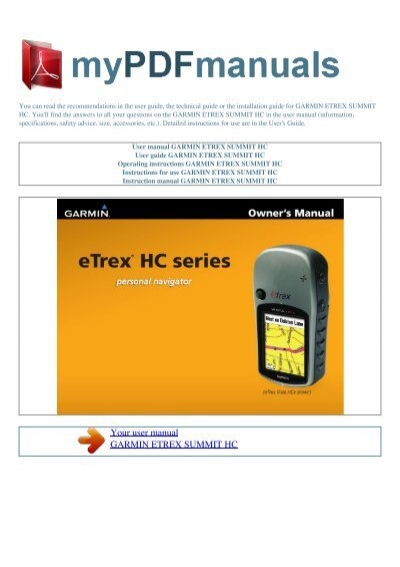user manual garmin etrex summit hc my pdf manuals rh yumpu com eTrex H Manual garmin etrex summit hc manual pdf