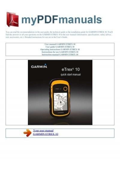 Etrex 10 manual pdf