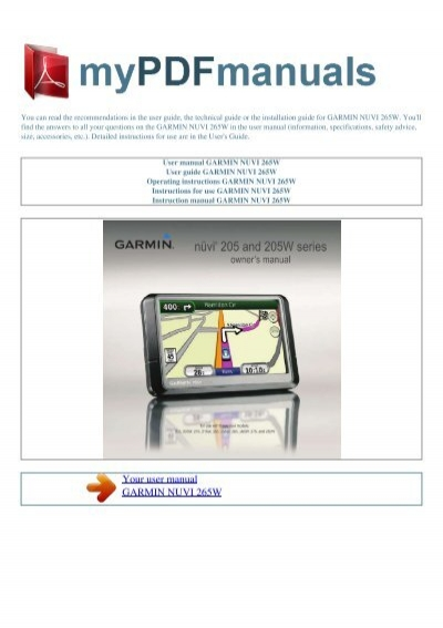 user manual garmin nuvi 265w my pdf manuals rh yumpu com garmin nuvi 265w user manual garmin nuvi 265wt troubleshooting