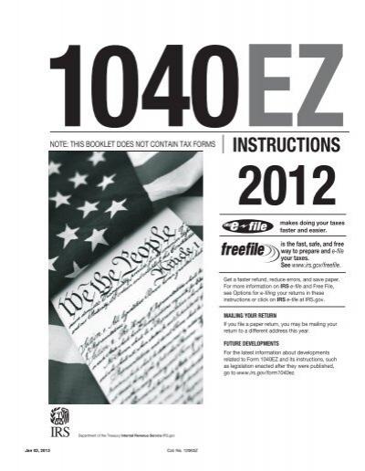 1040ez Instructions Internal Revenue Service