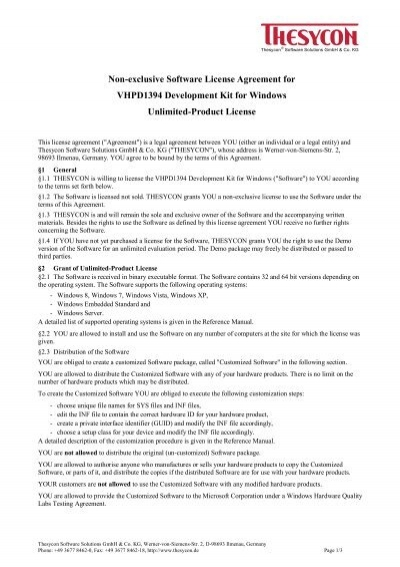 Vhpd1394 Software License Agreement Unlimited Product License