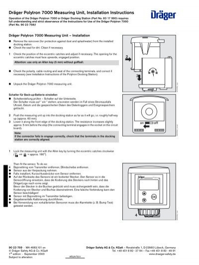 dräger polytron 7000 measuring unit installation instructions