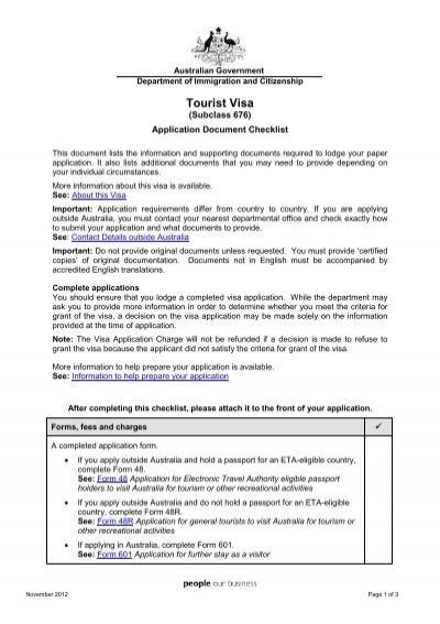 Tourist visa subclass 676 application document checklist for Documents checklist passport
