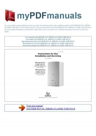 user manual saunier duval thema classic f30e plus rh yumpu com