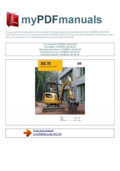 User manual CATERPILLAR 302.7D - MY PDF MANUALSYumpu