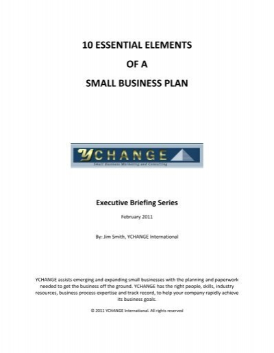 10 essential elements of a small business plan