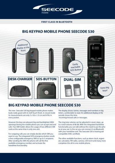 Big Keypad Mobile Phone Seecode S30 Big Keypad Mobile Mobiset