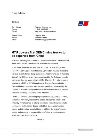 MTU powers first XEMC mine trucks to be exported from China