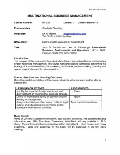 MULTINATIONAL BUSINESS MANAGEMENT - Schiller International