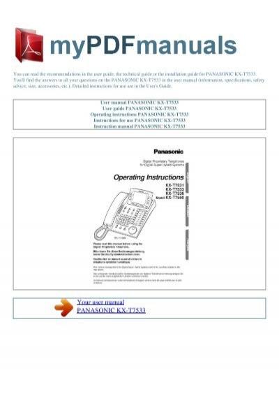 User Manual Panasonic Kx-t7533