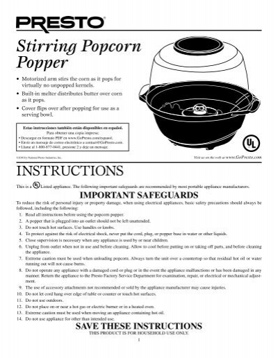 Stirring Popcorn Popper Presto