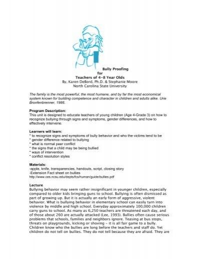 Bully Proofing for Teachers of 4-8 Year Olds By, Karen DeBord, Ph