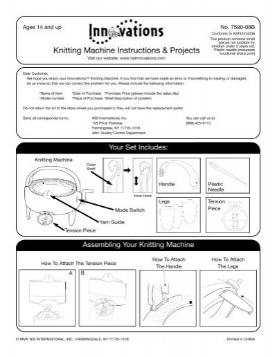 Knitting Machine Instructions Projects