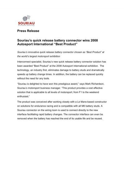 Press release souriaus quick release battery connector wins 2008 press release souriaus quick release battery connector wins 2008 thecheapjerseys Gallery