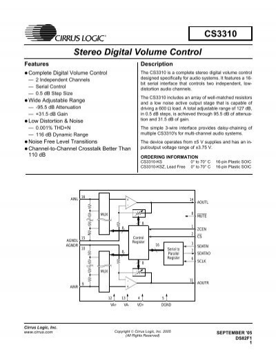 CIRRUS LOGIC CS3310-KSZ IC SOIC-16 DIGITAL VOLUME CONTROL
