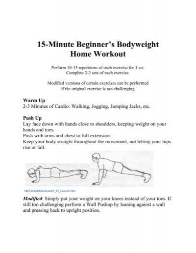 15 minute beginner s bodyweight home workout umc h e a l t h