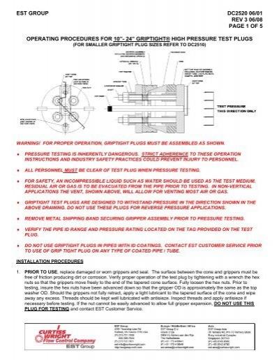 griptight® high pressure test plugs - EST Group - Curtiss