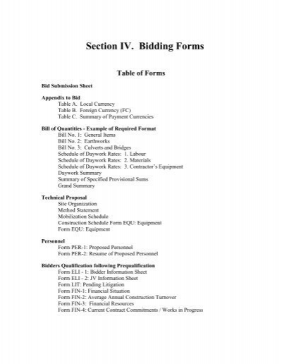 section iv bidding forms