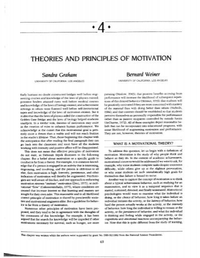 principles on the theories of motivation The maslow theory of motivation also known as maslow's hierarchy of needs model was developed between 1943-1954, and first widely published in motivation and personality in 1954.