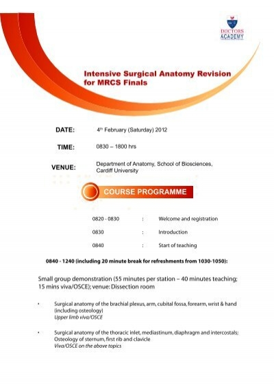 Intensive Surgical Anatomy Revision for MRCS ... - Doctors Academy