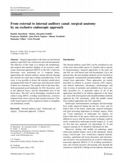 From External To Internal Auditory Canal Surgical Anatomy By An