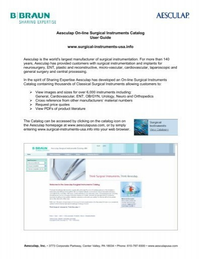User Guide - Aesculap Surgical Instruments Catalog