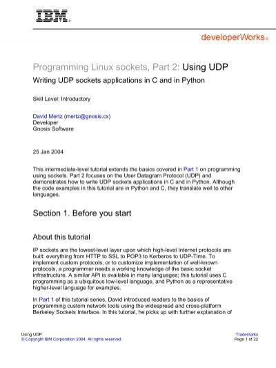 Programming Linux sockets, Part 2: Using UDP - IBM